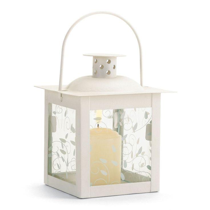 New Small White Candleholder Lantern Vine Design Glass Panels Table Centerpiece