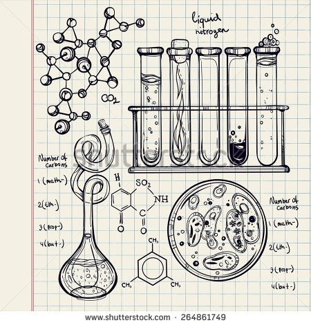 Hand drawn science beautiful laboratory icons sketch. . Vector illustration.Back to School. Science lab objects doodle style sketch, Laboratory equipment. Note book page paper.