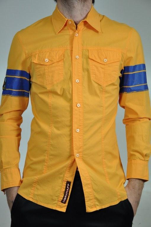 Camicia Nordkapp uomo, in giallo con bande blu sulle maniche