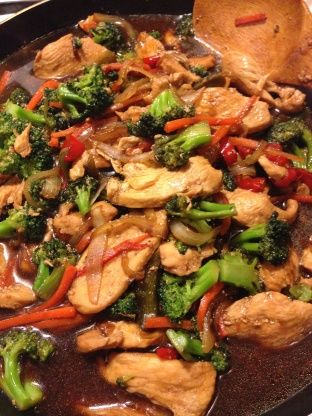 Serve this quick and easy Teriyaki Chicken Stir-Fry over fried rice for a filling and flavorful dinner.