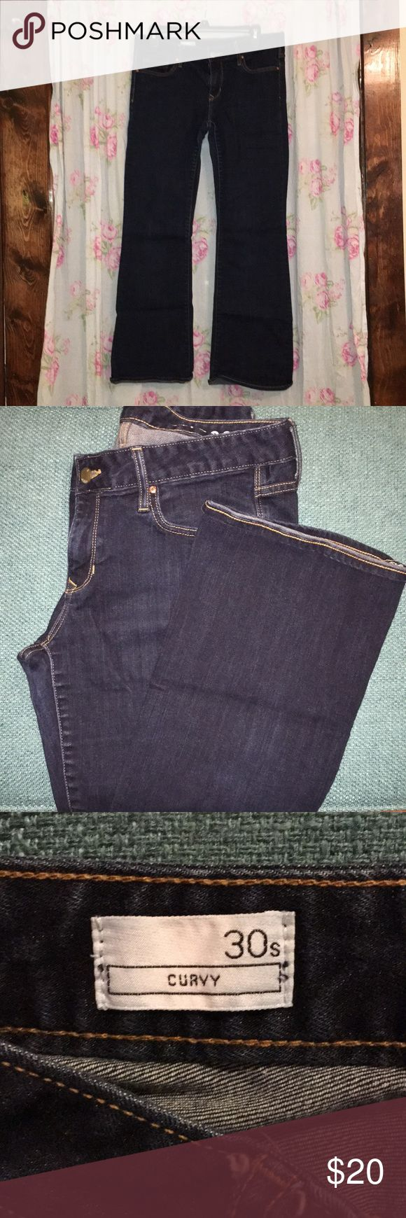 Gap Curvy jeans, Solid Dark Wash Gap Curvy jeans, Solid Dark Wash - 30Short Gently used GAP Jeans Flare & Wide Leg