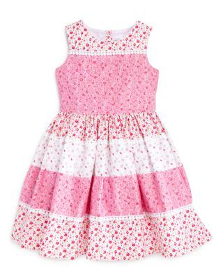 US Angels Girls' Floral & Lace Tiered Dress - Sizes 2-6X   Bloomingdale's
