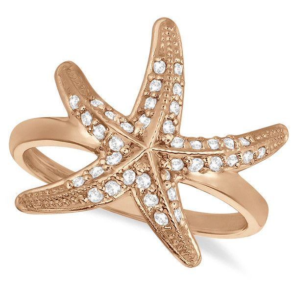 Allurez Diamond Starfish Ring 14k Rose Gold (0.34ct) ($785) ❤ liked on Polyvore featuring jewelry, rings, accessories, ariel, 14k diamond ring, round ring, nautical ring, 14k ring and red gold ring