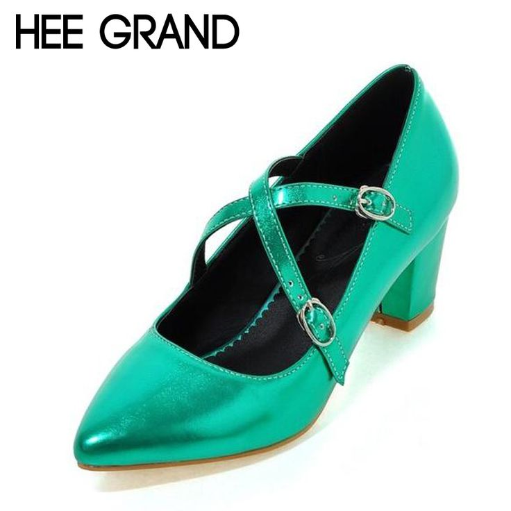 HEE GRAND High Heels Patent Leather Pumps Shoes Woman Square Heel Pumps Crossed Silver Gold Women Wedding Shoes Spring WXG238