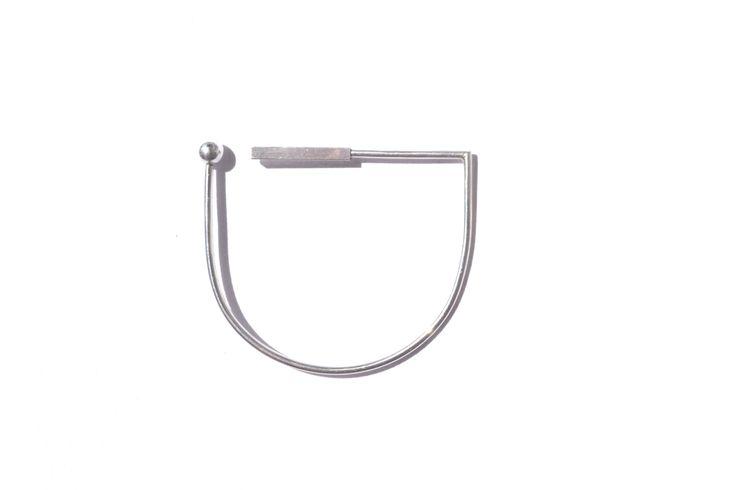 Linear geo balance cuff - silver - La Terra