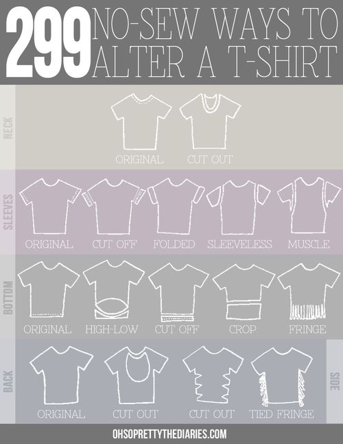 DIY 299 No Sew Tee Shirts Infographic and Tutorial from Oh So Pretty.Mix and match to get hundreds of combinations. Also check out the post...