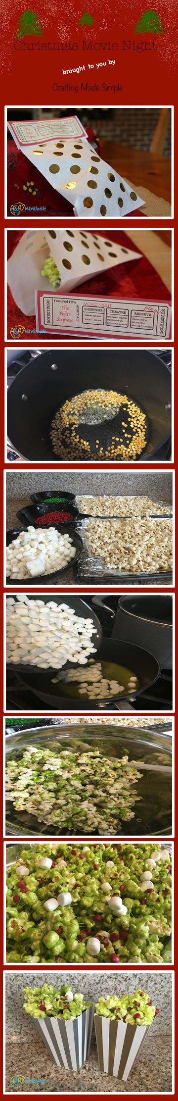 Crafting Made Simple ∫ Invite friends and family to a Christmas Movie Night to see the Polar Express or better yet watch the Grinch, while eating Grinch Popcorn! Check out how easy it is at our blog . . . #HolidayMovieNight