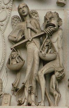 Vezelay, Basilique Sainte-Marie-Madeleine, det. Tympan du portail central de la façade: le Jugement Dernier, oeuvre de Pascal, sculpteur des ateliers de Viollet-le-Duc (1856).