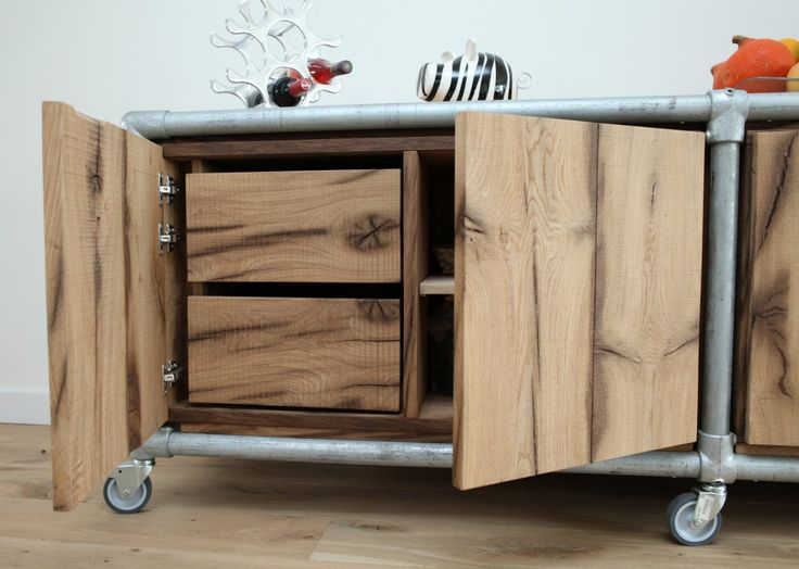 Old Oak Sideboard or combined with galvanized Kee Klamp fittings