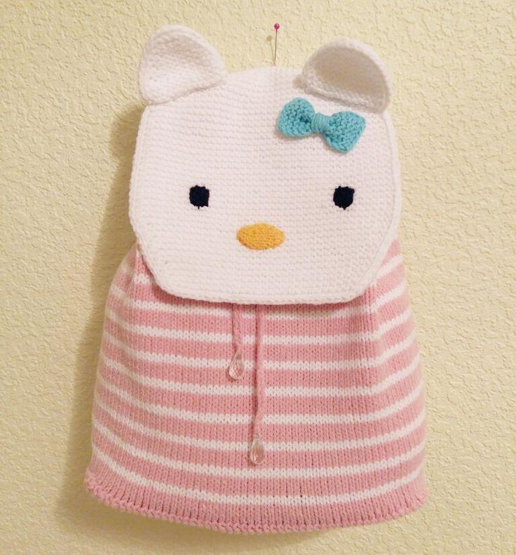 Hello Kitty Baby knitting back pack kids Детский вязаный рюкзак