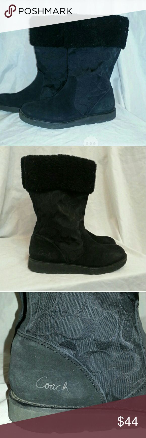 Black Coach boots High quality!  I wore them last winter and they still lookthe same. Comfy, can be worn all year, sturdy base bottoms!!, faux lambswool at top, coach logo and suede?(?)  MAKE BUNDLE OFFERS! Make your own bundle! Name your price! Negotiate! Lots of FREE things listed. G'd bless u! X  ~~~ Share a few of my items!!! I'LL SHARE YOURS!!!~~~ ~~~ Share a few of my items!!! I'LL SHARE YOURS!!!~~~ ~~~ Share a few of my items!!! I'LL SHARE YOURS!!!~~~ Coach Shoes Winter & Rain Boots