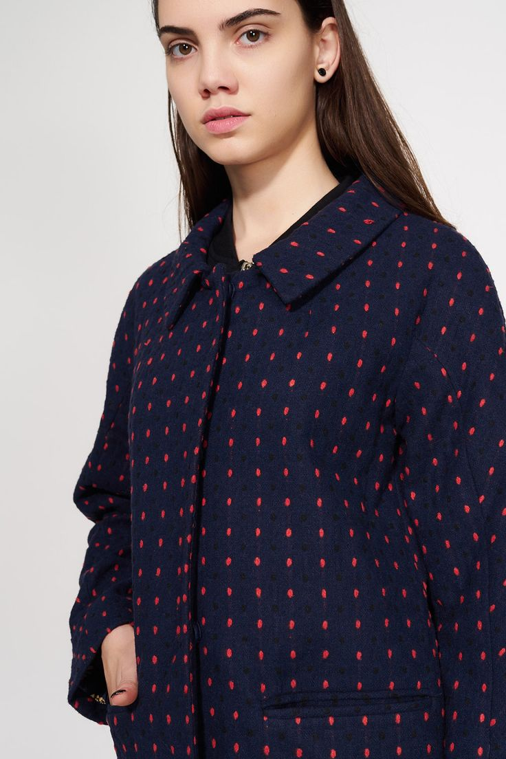 KLING - LION WOOL COAT #kling #lion #wool #coat #red #dots