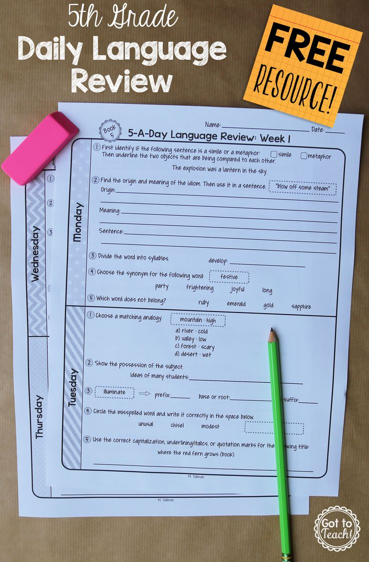 A free daily language review for 5th grade. Review important grammar and vocabulary skills each day for one week.