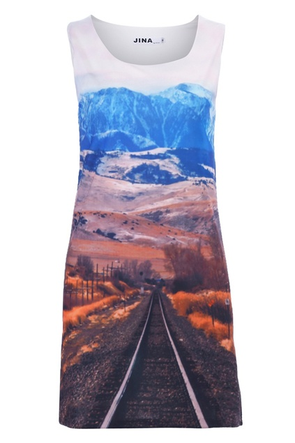 Mountains Print Sleeveless Dress