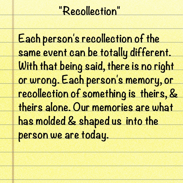 """Recollection""Thoughts, Today, Recollections"