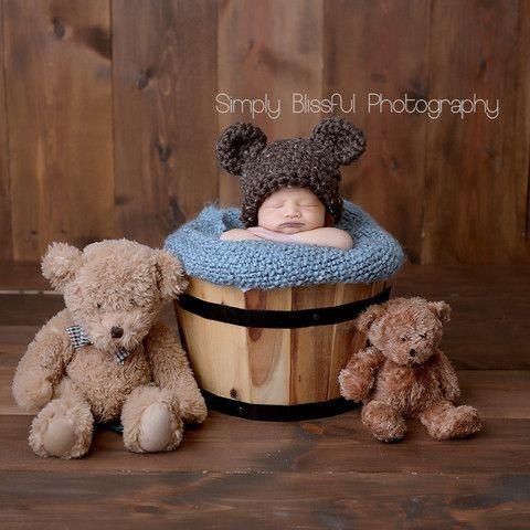 Chunky Chocolate Brown Baby Bear Hat Newborn Size - Gender Neutral