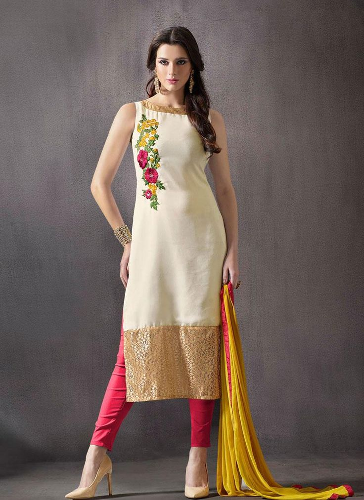 Cream White Beautiful Casual Wear Salwar Suit, #casualwear #cotton #silknsober