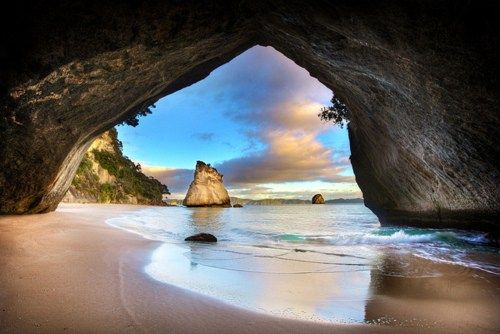 Cathedral Cove Sea Cave, Coromandel, New Zealand  looks like the entrance to Narnia from the Tube