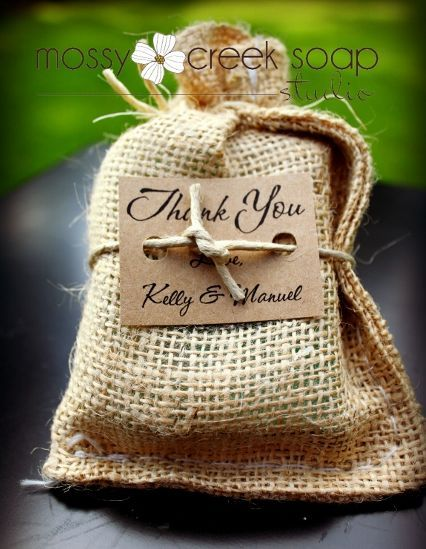 Natural Burlap Wedding Favor Soaps, Eco chic wedding favors, Soap on a Rope Wedding Favors