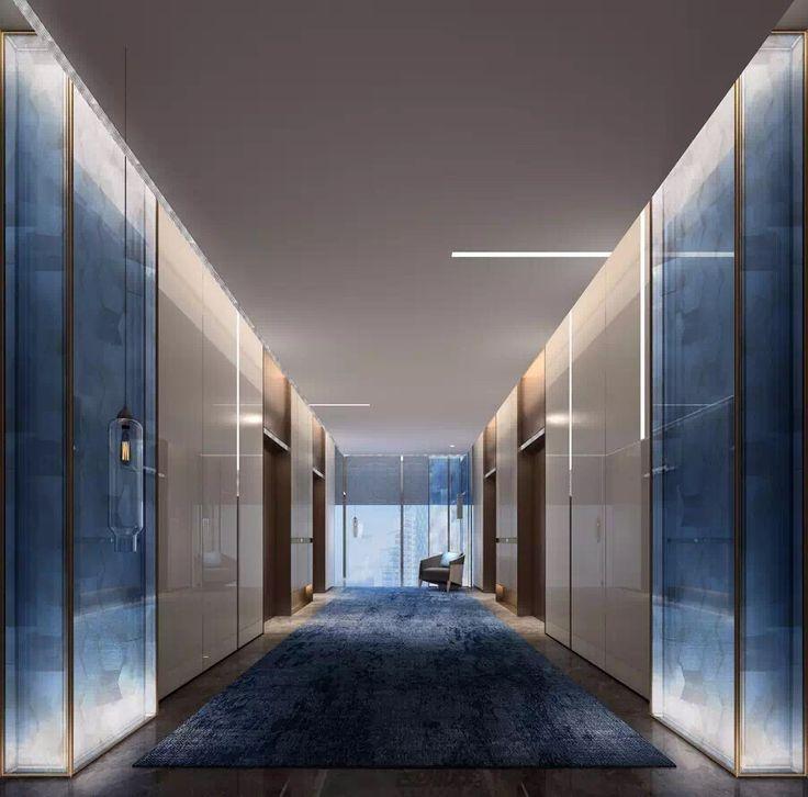 Minimalist floating ceiling with minimal slits of light