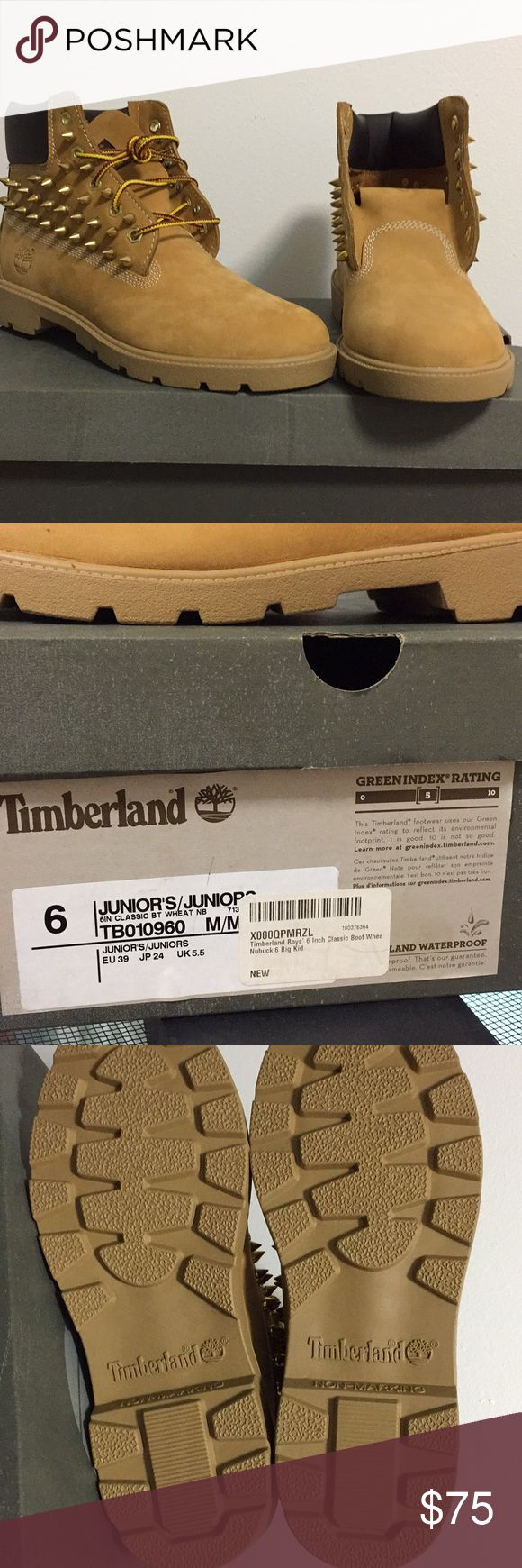 Spiked Timberland Boots New in Box Custom gold spiked timberland boots   Juniors Size 6 6 inch Classic Boot Wheat Timberland Shoes Boots