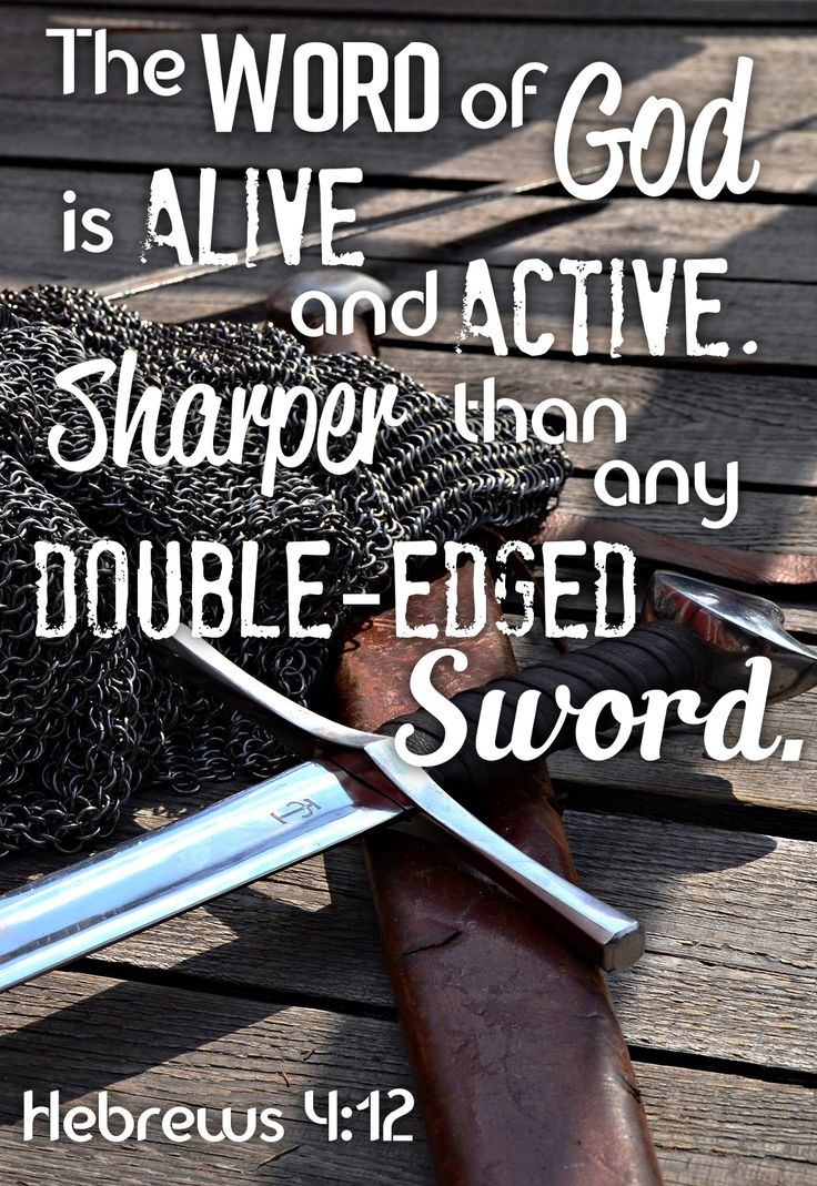 The Word of God is alive and active. Sharper than any double-edged sword. Hebrews 4:12 Verses, Bible Verse, Scripture, Devotional, Bible Study, Hope, Inspired, Encouragement