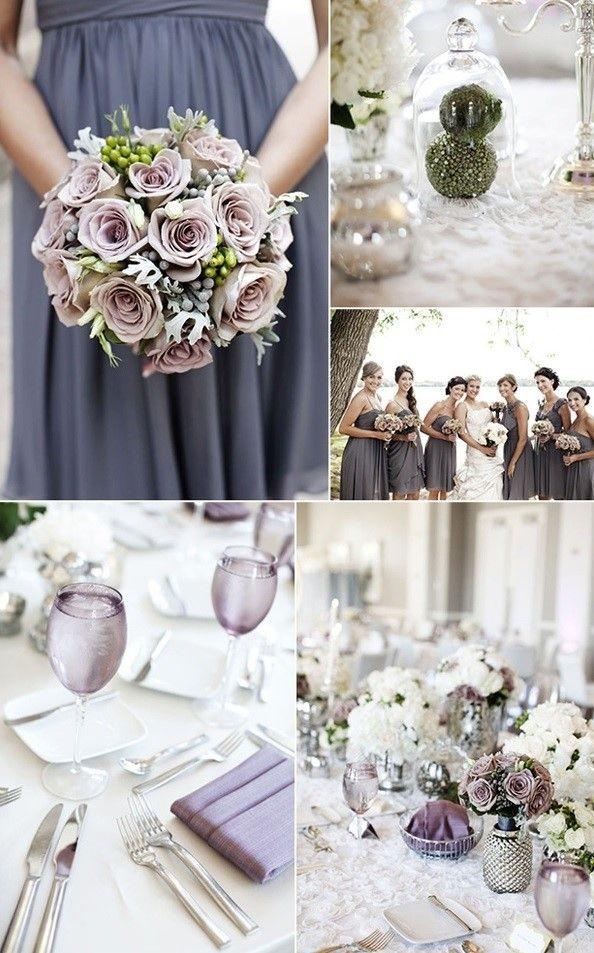 Aunque no lo parezca, el gris es un color perfecto para la decoración de una eventos, ya que se encuentra entre los tonos verano 2017. Los centros de mesa en este color, el vestido de las damas de honor o por ejemplo las servilletas pueden ser en gris, y seguro que acertarás. Es un color elegante que además podemos combinar con el blanco, y que puede estar presente como vemos en las imágenes con los manteles, las servilletas, las flores, o porqué no hasta los trajes de las damas de honor.