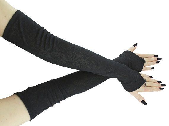 Black extra long fingerless gloves arm warmers by FashionForWomen