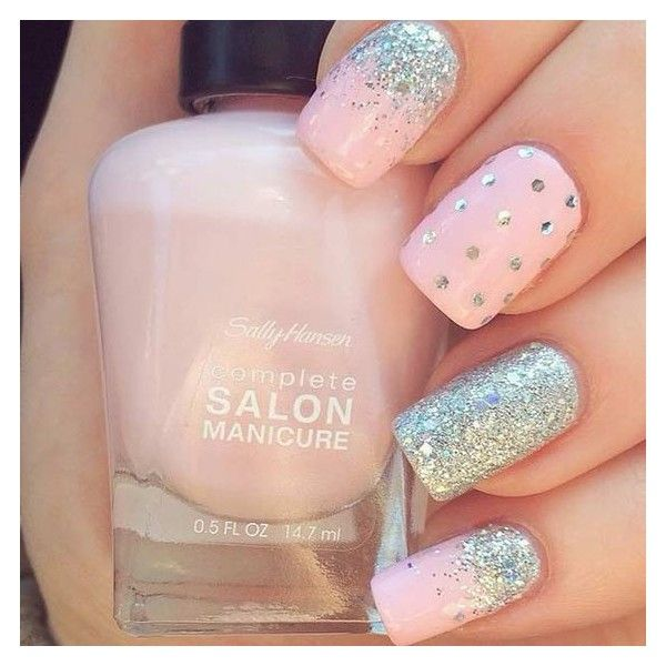 Glitter polka dots on pink nails ❤ liked on Polyvore featuring beauty products and nail care