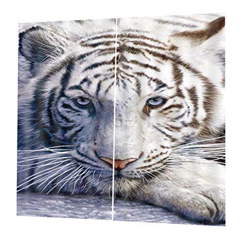 perfeclan Rideau à Rideaux Occultants avec Impression d'animaux en 3D Polyester – Tigre-85x200cm