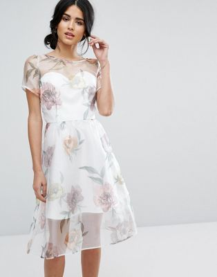 Chi Chi London Organza Midi Dress In Overscale Floral