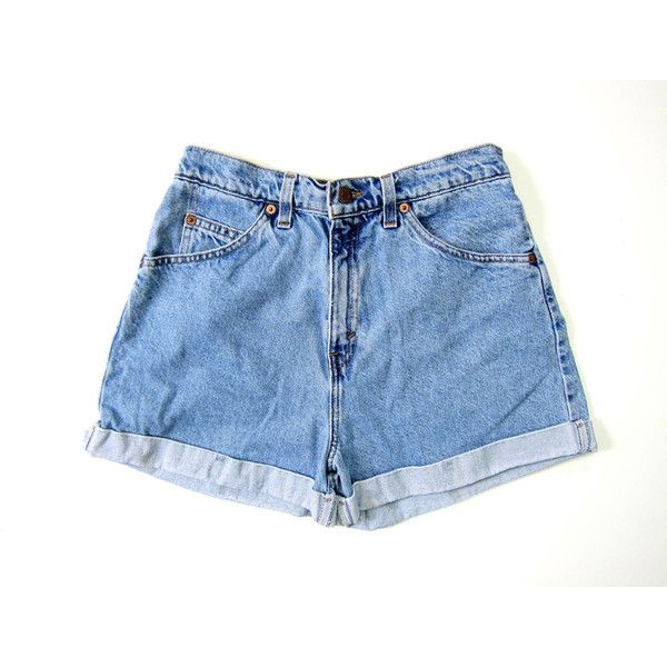 80s LEVIS Jean Shorts Cuffed Blue High Waist Denim Shorts Mom Jeans... ($45) ❤ liked on Polyvore featuring shorts, cuffed denim shorts, denim shorts, denim short shorts, blue shorts and hot pants