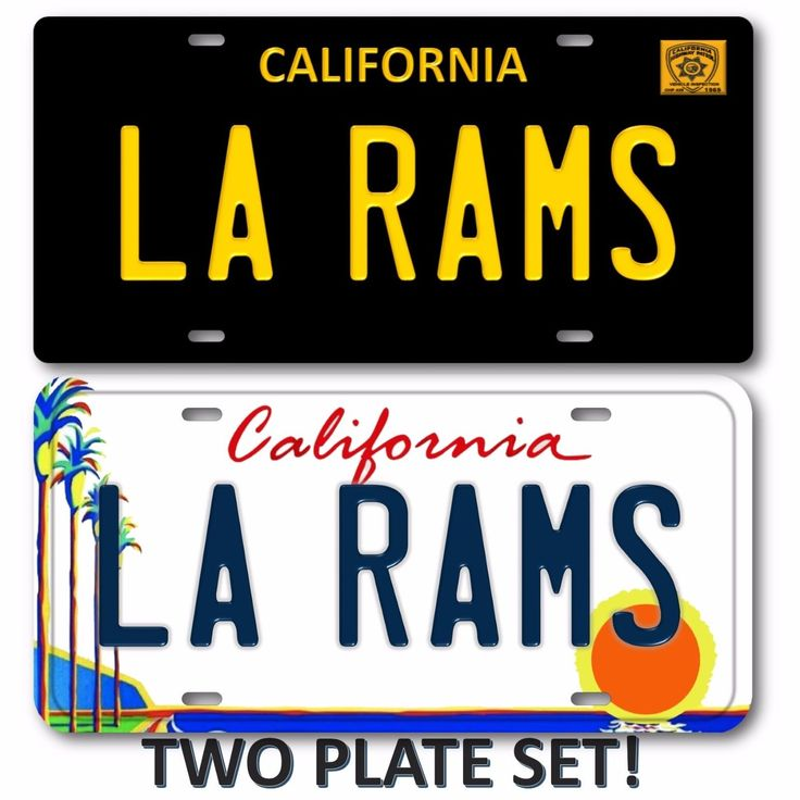LA RAMS Los Angeles California 2 LOT SET NFL Football Team License Plate Tag 3