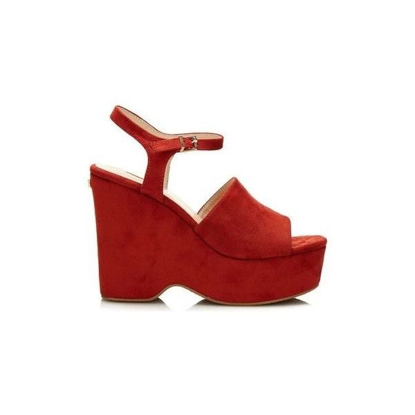 Guess FLKRL2 ESU03 Wedge sandals Women Arancio Sandals ($93) ❤ liked on Polyvore featuring shoes, sandals, orange, women, orange sandals, guess shoes, orange wedge sandals, guess footwear and orange shoes