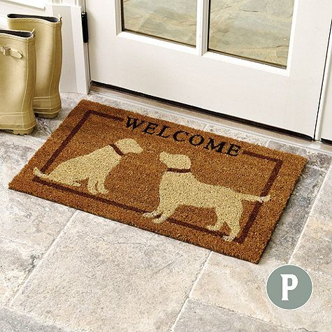 Personalized Yellow Dog Coir Mat