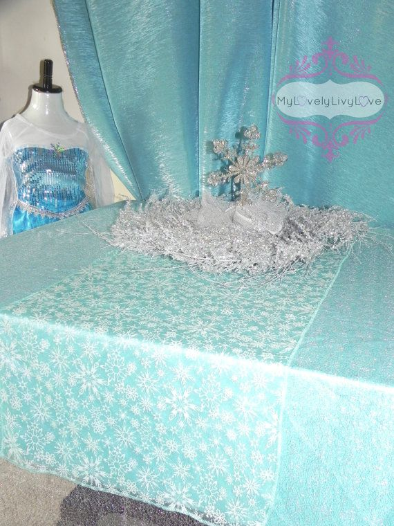 Table overlay, runner snowflake tablecloth Elsa FROZEN decorations winter wedding Christmas decorations