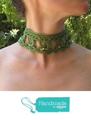 Collier au crochet irlandais trèfle clover irish lace vert victorien ras du cou choker gothic en coton avec véritable perles de jade cadeau de Noël à partir des LilithCreation-Boutique https://www.amazon.fr/dp/B01M9GJOZV/ref=hnd_sw_r_pi_dp_TG5eybF5BPBJ5 #handmadeatamazon