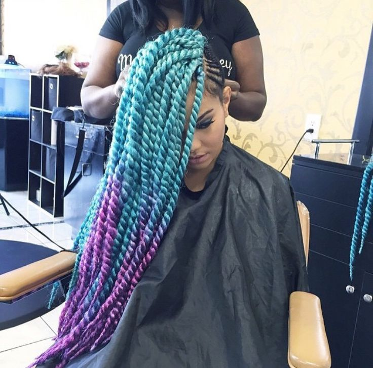 Teal And Purple Crochet Senegalese Twists Braided