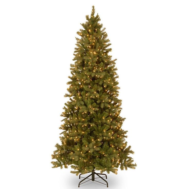 9-ft. Pre-Lit ''Feel Real'' Downswept Douglas Fir Slim Artificial Christmas Tree, Green