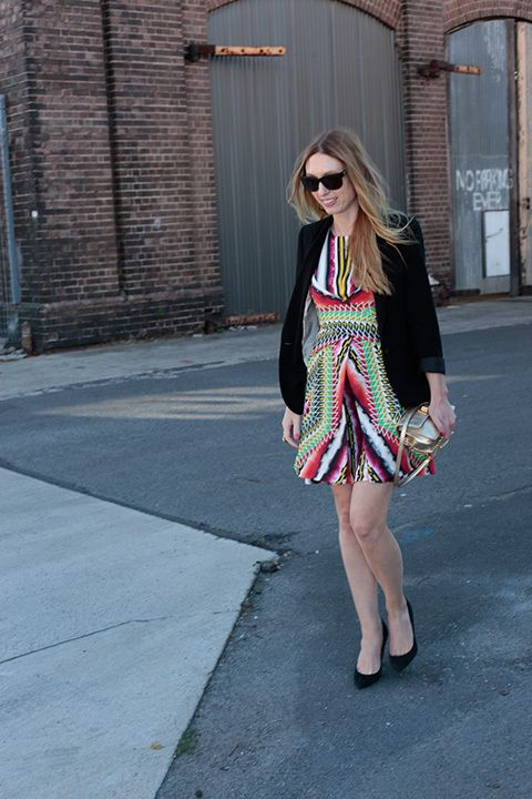 Kate Moffatt, online producer. Peter Pilotto dress, Zara jacket, Tophop shoes, Milly bag, Chanel sunglasses, YSL ring. #streetstyle