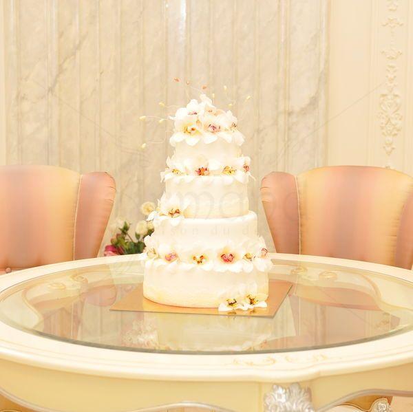 Va prezenta un tort de nunta cu simbolurile perfectiunii si al puritatii spirituale - orhideele albe. In China, inca timpuriu, aceasta minunata floare era oferita indeosebi tinerelor femei si mireselor. Cu un design ireprosabil, acest tort de nunta va atribui eleganta, rafinament si modernitate evenimentului dumneavostra.   Locatie: Palatul Noblesse.