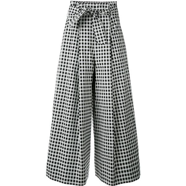 Each X Other high waisted culottes ($415) ❤ liked on Polyvore featuring pants, capris, black, high waisted trousers, high rise pants, high-waisted trousers, high rise trousers and highwaist pants