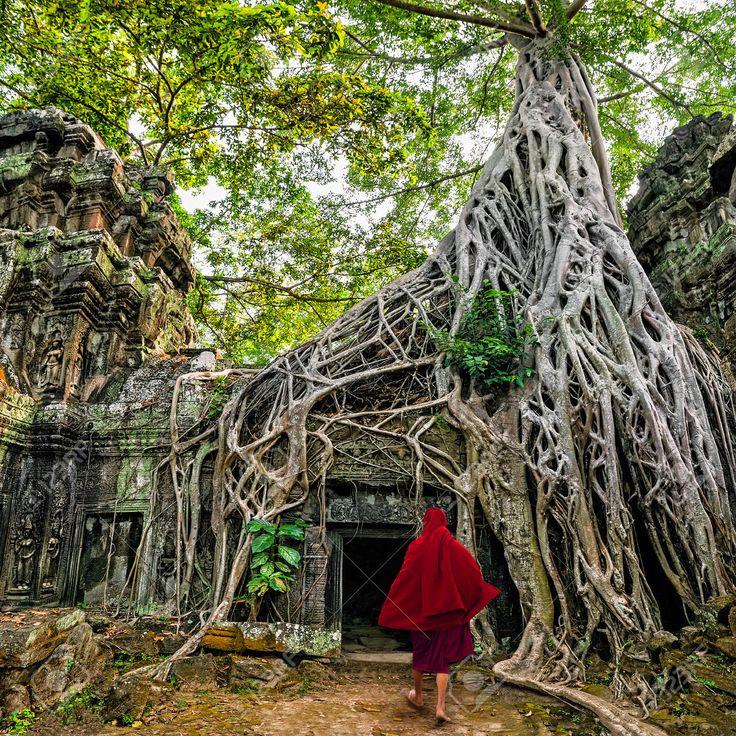 Buddhistische Mönche Bei Angkor Wat Alten Khmer-Architektur, Ta Prohm Tempel-Ruinen Im Dschungel Beliebte Reiseziel Versteckt In Siem Reap, Kambodscha Lizenzfreie Fotos, Bilder Und Stock Fotografie. Image 29657364.