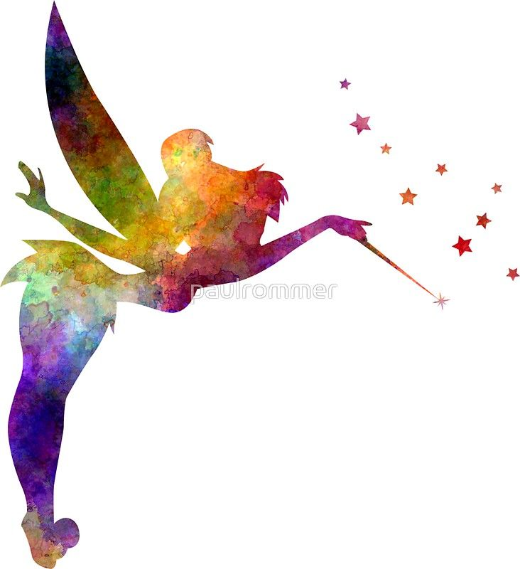 Tinkerbell In Watercolor Sticker In 2020 Watercolor Disney