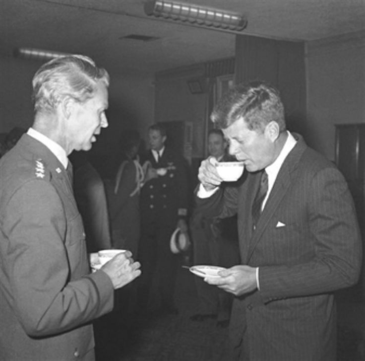 President John F. Kennedy sips coffee during his visit to SHAPE, NATO's military headquarters outside Paris on June 2, 1961.❤❤❤❤❤❤  http://en.wikipedia.org/wiki/John_F._Kennedy