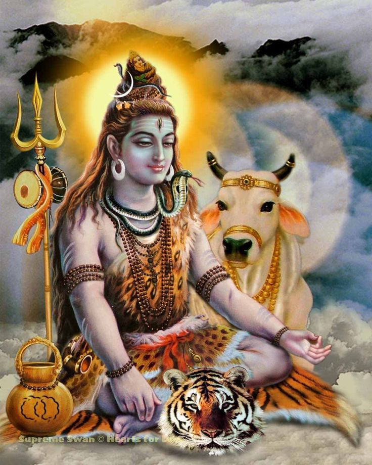 A fine art print of Lord Shiva on his tiger skin with Nandi