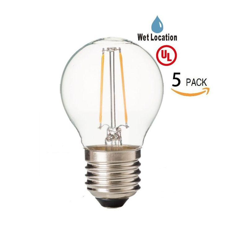 LED2020 LED G14 Globe Filament Light Bulb, 120VAC, Daylight(5000K), 2W to Replace 30W Incandescent Bulbs, E26 Base, NOT Dimmable, Clear Bulb, Clear Bulb, UL Certified, Waterproof, 5PACK