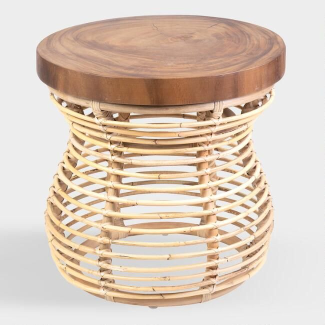 Round Teak And Rattan Olivia Accent Table Rattan Side Table Side Table Accent Table