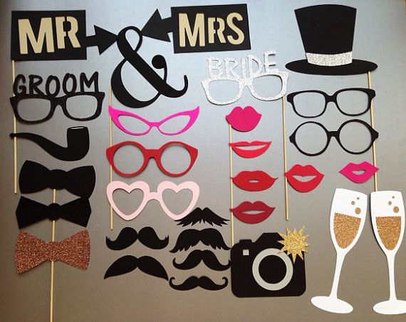 Wedding Photobooth Props Holiday Photo Booth Set Of 30