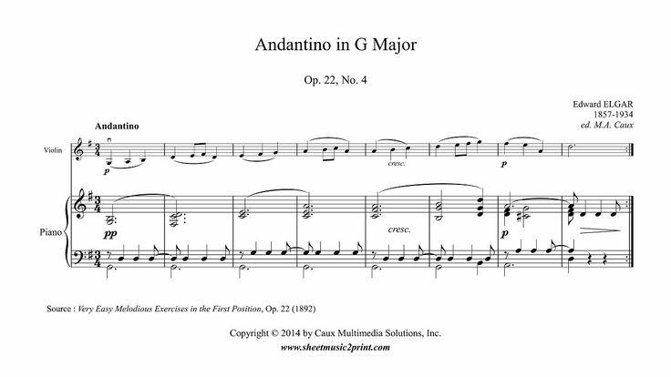 Elgar : Andantino in G Major, Op. 22, No. 4 - Violin www.sheetmusic2print.com/Elgar/Easy-Piece-22-4.aspx